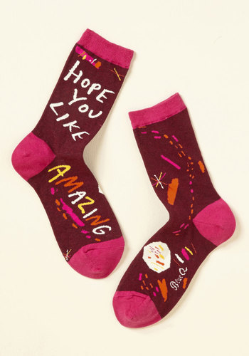 Can-Do Gratitude Socks - Red, Pink, Novelty Print, Casual, Quirky, Sayings, Spring, Summer, Winter, Better, Red, Saturated