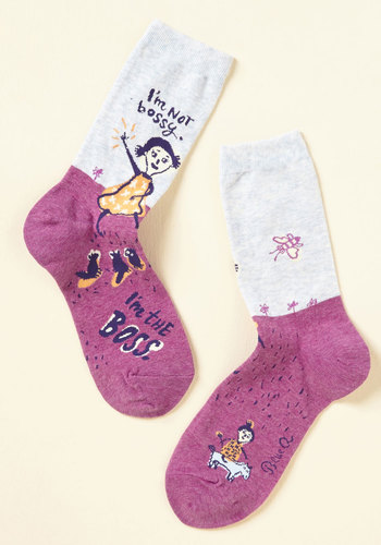 What a Mighty Good Manager Socks - Pink, Grey, Novelty Print, Casual, Sayings, Spring, Winter, Better, Pink, Saturated