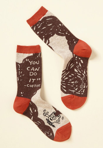 Joe, Team, Go! Socks - Store 1, Brown, Red, Novelty Print, Casual, Quirky, Food, Sayings, Spring, Fall, Winter, Better, Brown, Saturated