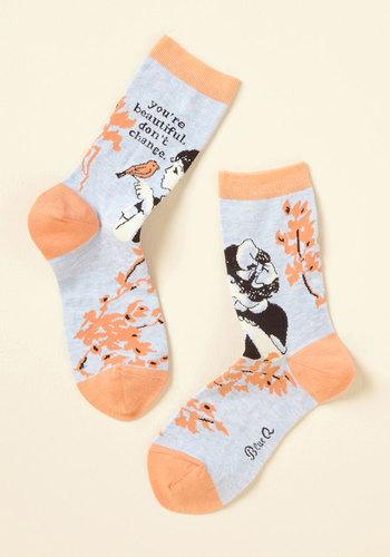 Whisper Sweet Somethings Socks - Grey, Orange, Novelty Print, Casual, Quirky, Sayings, Spring, Winter, Better, Orange, Pastel, Valentine's