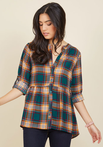 Creative Career Conference Button-Up Top in Teal Plaid