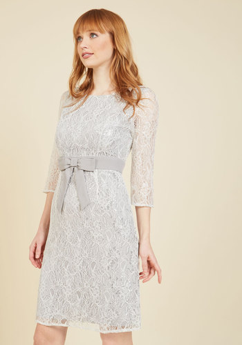 Defined to Refine Lace Dress in Silver - Silver, Bows, Special Occasion, Party, Cocktail, Holiday Party, Shift, 3/4 Sleeve, Fall, Winter, Lace, Best, Exclusives, Scoop, Woven, Mid-length, Solid, Lace, Work, Graduation, Wedding Guest, Vintage Inspired, 80s, Luxe, Knee