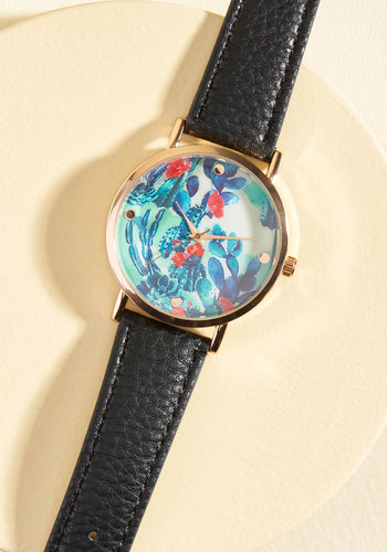 A Lot of Time on Your Land Watch in Black - Stocking Stuffers, Under 50 Gifts, Black, Green, Blue, Pink, Floral, Work, Casual, Nature
