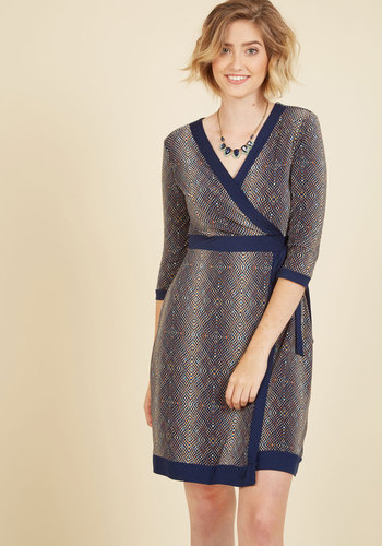 Statement Operating Procedure Wrap Dress in Navy - Blue, Short, Print, Geometric, Work, A-line, Wrap, 3/4 Sleeve, Fall, Winter, Knit, Better, Exclusives