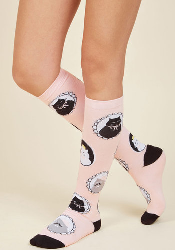 I Can See Clearly Meow Socks - Pink, Black, Print with Animals, Casual, Cats, Spring, Winter, Better, Pink, Pastel, Critters, Stocking Stuffers, Critter Gifts
