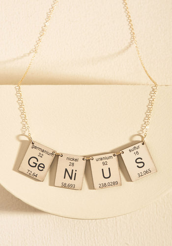 Element in the Room Necklace in Smarts by Vinca - Stocking Stuffers, Under 50 Gifts, Gold, Work, Casual, Scholastic/Collegiate, Nifty Nerd