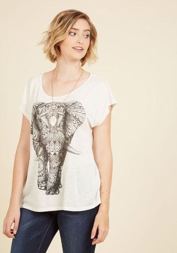 Wildly Imaginative T-Shirt - Sheer, Cream, Print with Animals, Short Sleeves, Casual, 90s, Better, Best Seller, Scoop, White, Short Sleeve, Summer, Good, 4th of July Sale, Lounge, Mid-length