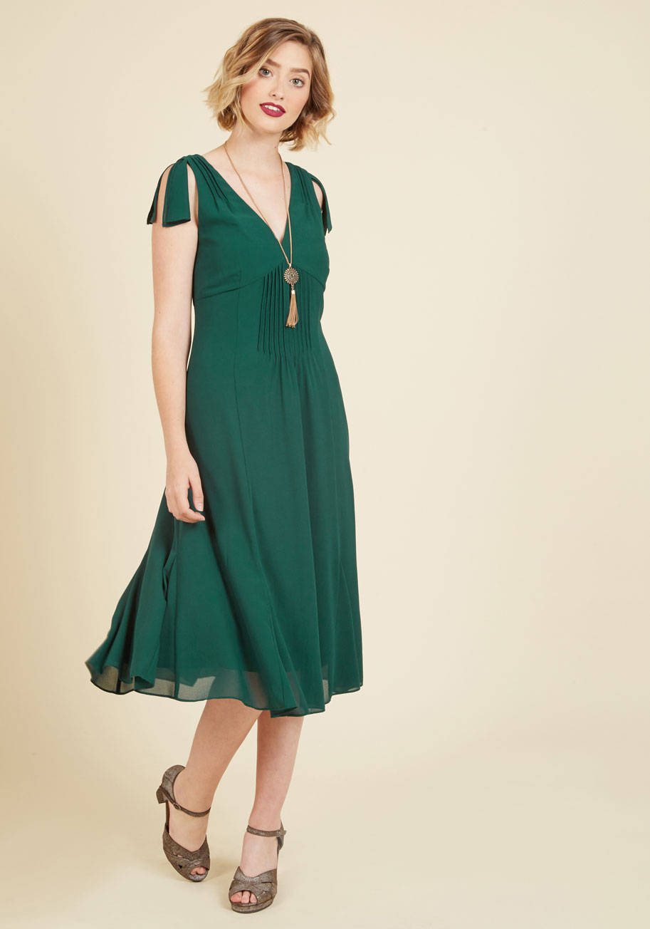 Ties to the Occasion Midi Dress in Pine
