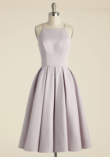Beloved and Beyond Midi Dress in Lilac - Solid, Wedding, Party, Daytime Party, Bridesmaid, Fit & Flare, Sleeveless, Spaghetti Straps, Spring, Woven, Best, Halter, Long, Variation, Wedding Guest, Prom, Graduation, Vintage Inspired, Cocktail, Purple, Homecoming