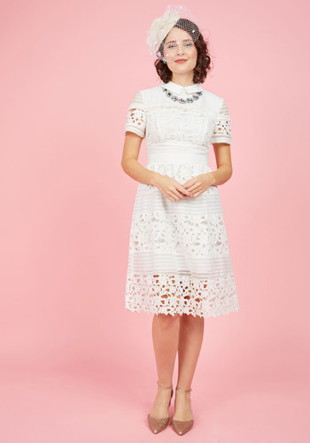 Cordially Delighted Lace Dress - Solid, Crochet, Wedding, Bride, Vintage Inspired, Short Sleeves, Spring, Woven, Exclusives, Collared, Cotton, Special Occasion, Graduation, Summer, White, Daytime Party, French / Victorian, Darling, Mod, 50s, Luxe, A-line, Shirt Dress, Mid-length, Knee Length, Lace, Best, Store 1