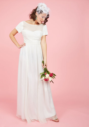 Aisle and Beyond Maxi Dress in White by ModCloth - White, Solid, Beads, Special Occasion, Wedding, Bride, A-line, Maxi, Short Sleeves, Woven, Exceptional, Exclusives, Scoop, Long, Buttons, Prom, Vintage Inspired, 20s, 80s, Luxe, Fairytale, Spring, Summer, Fall, Winter, Chiffon, Sheer, Sweetheart