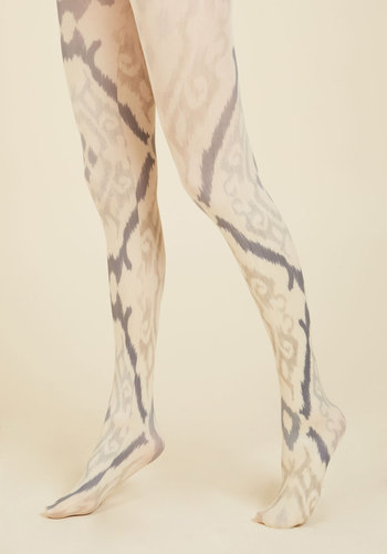 Communicated Charisma Tights - Grey, White, Paisley, Print, Work, Casual, Fall, Winter, Best, Under 50 Gifts, Unique Gifts, Sheer