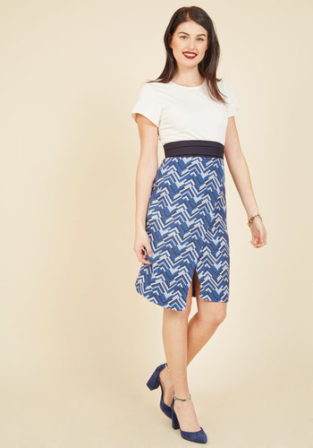 Delightful On Duty Sheath Dress by Closet London - Blue, White, Print, Chevron, Work, Daytime Party, Twofer, Sheath, Short Sleeves, Fall, Woven, Exceptional, Long, Spring, Summer, Knee Length, Crew