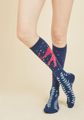 Stay on Tusk Socks - Blue, Pink, Print with Animals, Print, Casual, Cosmic, Critters, Fall, Winter, Good, Knee-High, Cotton, Knit, Critter Gifts, Under 50 Gifts, Under 25 Gifts