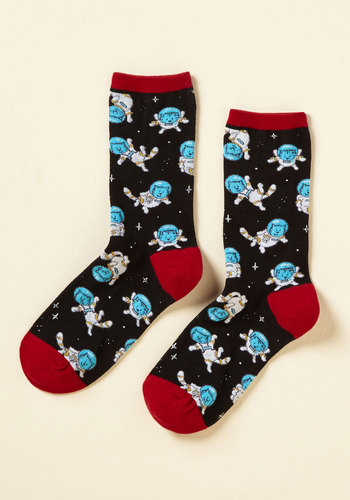 It Space Suits You Socks - Black, Red, Print with Animals, Print, Casual, Cats, Cosmic, Fall, Winter, Good, Crew, Critter Gifts, Stocking Stuffers, Cosmic Gifts, Under 50 Gifts, Under 25 Gifts, Unique Gifts, Best Seller, Best Seller, Gifts2015