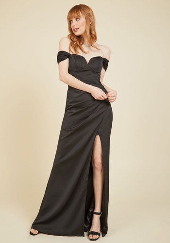 Reception Reaction Maxi Dress - Luxe Gifts, Woven, Black, Solid, Ruching, Special Occasion, Prom, Party, Homecoming, Wedding Guest, Luxe, Maxi, Sheath, Fall, Winter, Exceptional, Sweetheart, LBD, Cocktail, Holiday Party, Valentine's, Vintage Inspired, 80s, Off the Shoulder, Spaghetti Straps, Long
