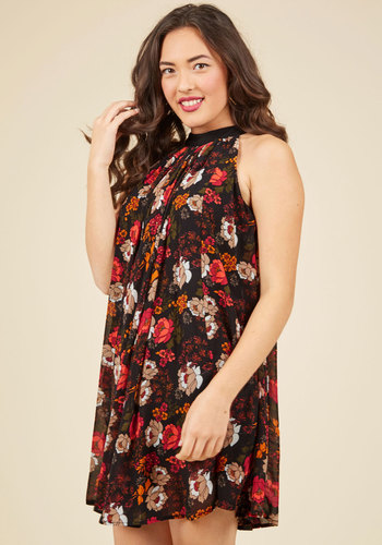 Flourishing Fleurs Shift Dress - Woven, Mid-length, Black, Red, Floral, Print, Daytime Party, Valentine's, Shift, Tent / Trapeze, Sleeveless, Fall, Winter, Good