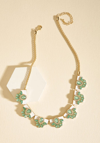 Ways and Gleams Necklace - Gold, Green, Gold, Special Occasion, Wedding, Party, Statement, Pastel, Spring, Summer
