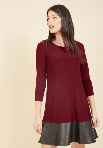 Shift in Perspective Knit Dress - Purple, Black, Solid, Work, Daytime Party, A-line, 3/4 Sleeve, Fall, Winter, Knit, Better