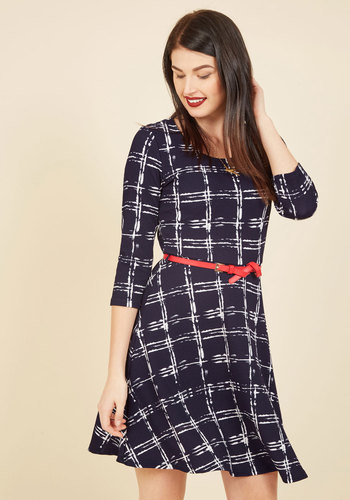 Charismatic Coffee Break A-Line Dress - Black, Checkered / Gingham, Plaid, Print, Work, Casual, A-line, 3/4 Sleeve, Spring, Summer, Fall, Winter, Knit, Better, Exclusives, Mid-length