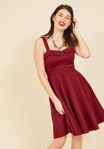 Pull Up a Cherry A-Line Dress in Embossed Ruby - Red, Work, Holiday Party, Daytime Party, Americana, Fit & Flare, Sleeveless, Fall, Winter, Woven, Better, Exclusives, Mid-length, Solid