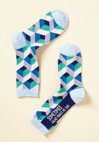 Leaf Well Enough Alone Socks - Blue, Grey, Geometric, Casual, Quirky, Sayings, Spring, Summer, Fall, Winter, Good, Blue, Saturated
