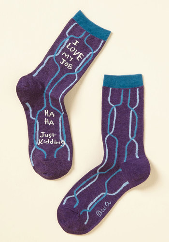 Take It Work for Word Socks - Purple, Blue, Geometric, Casual, Quirky, Sayings, Spring, Fall, Winter, Good, Purple, Saturated