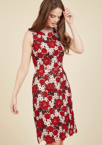 Of Elegant Importance Sheath Dress - Red, White, Floral, Print, Crochet, Party, Cocktail, Daytime Party, Sheath, Sleeveless, Fall, Winter, Lace, Best, Crew, Purple, Lace, Special Occasion, Work, Holiday Party, Graduation, Valentine's, Wedding Guest, Vintage Inspired, 60s, Statement, A-line, Fit & Flare, Mid-length, Knee Length