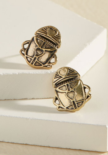 My Heart Skips a Beetle Post Earrings - Gold, Party, Work, Casual, Vintage Inspired, Quirky, Critters, Good, Fall