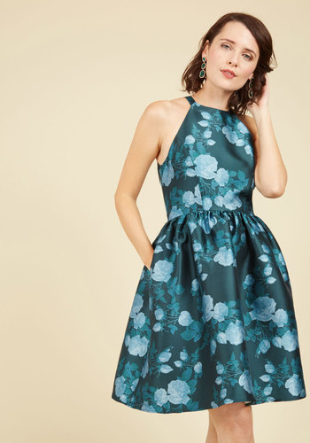 Fleurs Truly Fit and Flare Dress in Teal Garden by Wendy Bird - Multi, Green, Floral, Print, Special Occasion, Party, Daytime Party, Wedding Guest, A-line, Fall, Woven, Best, Exclusives, Halter, Green, Saturated, Blue, Pockets, Prom, Casual, Cocktail, Graduation, Homecoming, Vintage Inspired, 50s, Luxe, Fit & Flare, Halter, Spring, Summer, Knee Length