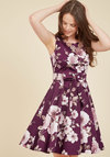 Girl Meets Twirl A-Line Dress in Burgundy Blossom
