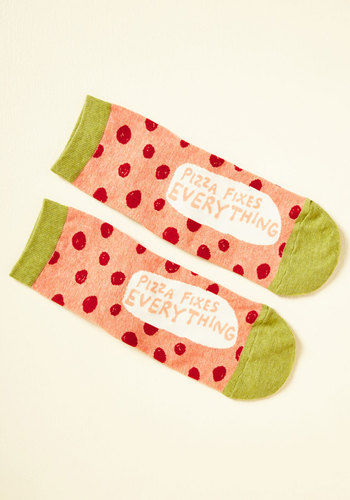 Topping Points Socks - Pink, Red, Green, Polka Dots, Casual, Quirky, Food, Sayings, Spring, Summer, Fall, Winter, Good, Pink, Saturated