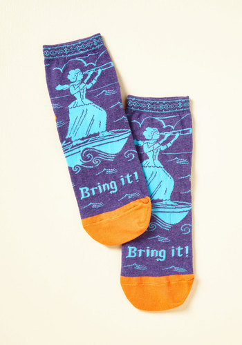 Come at Me, Toe Socks - Blue, Yellow, Novelty Print, Casual, Quirky, Sayings, Spring, Winter, Better, Blue, Saturated