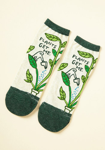 We Can Work It Sprout Socks - Green, White, Novelty Print, Casual, Quirky, Sayings, Nature, Spring, Summer, Winter, Better, Green, Saturated