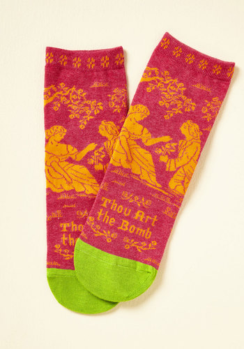 Bard Act to Follow Socks - Pink, Green, Novelty Print, Casual, Quirky, Sayings, Spring, Summer, Winter, Better, Pink, Saturated