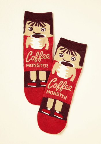 She Did the Monster Dash Socks in Coffee - Store 1, Red, Brown, Novelty Print, Casual, Quirky, Food, Sayings, Spring, Summer, Fall, Winter, Better, Variation, Red, Saturated