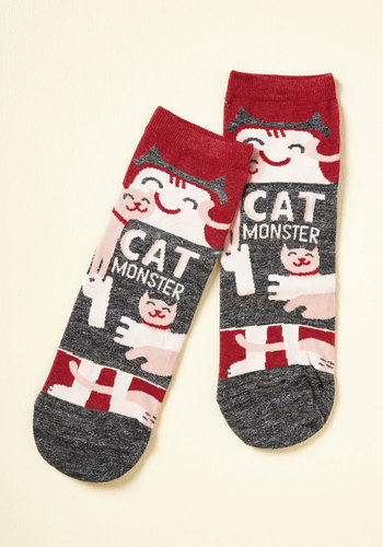 She Did the Monster Dash Socks in Cats - Grey, Red, Novelty Print, Casual, Quirky, Cats, Sayings, Spring, Fall, Winter, Better, Variation, Multi, Saturated, Stocking Stuffers, Critter Gifts