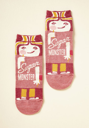 She Did the Monster Dash Socks in Sugar - Pink, Red, Yellow, Novelty Print, Casual, Quirky, Food, Sayings, Spring, Winter, Better, Variation, Pink, Pastel