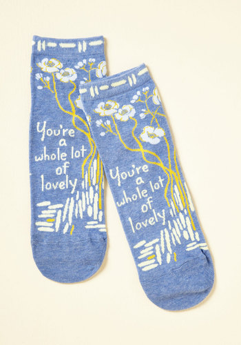 Compliment the World to Me Socks - Blue, Yellow, White, Floral, Casual, Quirky, Darling, Sayings, Spring, Winter, Better, Blue, Pastel, Stocking Stuffers, Best Seller, Best Seller, Gifts2015