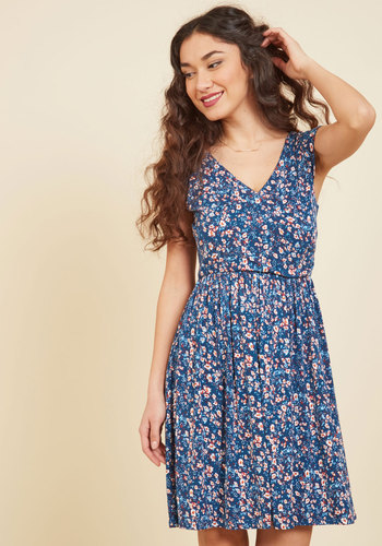 Breezier Said Than Done Floral Dress in Cerulean - Blue, Floral, Print, Work, Casual, Daytime Party, A-line, Cap Sleeves, Spring, Summer, Fall, Winter, Knit, Good, Exclusives, Mid-length