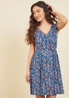 Breezier Said Than Done Floral Dress in Cerulean
