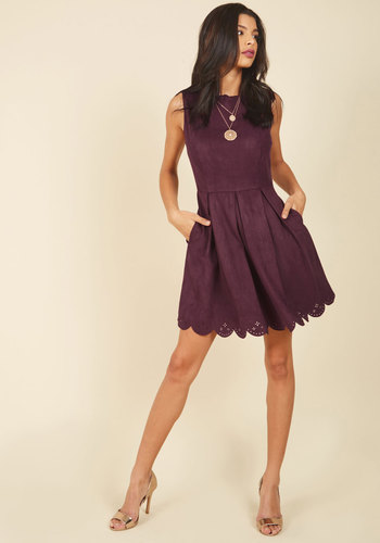 Spin Me Right Renowned Mini Dress by Pink Martini - Red, Solid, Daytime Party, A-line, Sleeveless, Winter, Suede, Woven, Best, Short