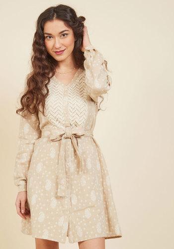 Be Sincere Now Polka Dot Dress - Tan, Tan / Cream, Polka Dots, Print, Crochet, Boho, A-line, Shirt Dress, 3/4 Sleeve, Fall, Woven, Better, Mid-length