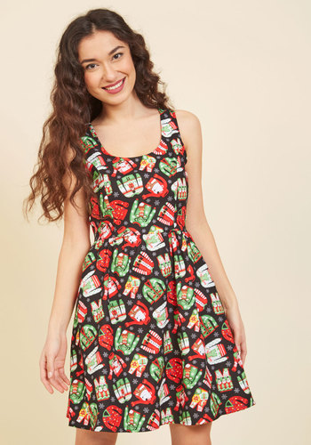 Merry Well Then A-Line Dress - Multi, Black, Novelty Print, Print, Casual, Holiday, Quirky, Fit & Flare, Sleeveless, Winter, Woven, Better, Under 100 Gifts, Holiday Gifts, Mid-length, Pockets
