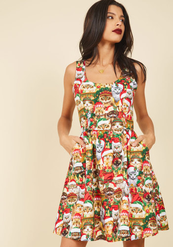 Deck the Meows A-Line Dress - Multi, Red, Print with Animals, Novelty Print, Print, Casual, Holiday, Quirky, Cats, Fit & Flare, Sleeveless, Winter, Woven, Better, Critter Gifts, Under 100 Gifts, Holiday Gifts, Mid-length, Pockets, Holiday Party