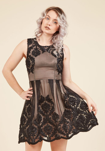 Cultural District Date Lace Dress - Woven, Mid-length, Black, Tan / Cream, Lace, Special Occasion, Prom, Party, Cocktail, Homecoming, LBD, Fit & Flare, Sleeveless, Lace