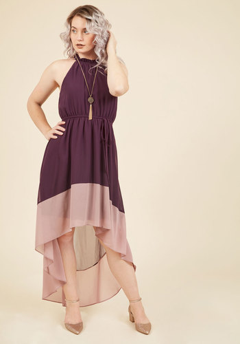 Befitting of Fame Maxi Dress in Aubergine - Purple, Solid, Party, Cocktail, Girls Night Out, Wedding Guest, A-line, High-Low Hem, Spring, Summer, Fall, Winter, Woven, Best, Exclusives, Halter, Mockneck, Mid-length, Pink, Belted, Tie Neck, Special Occasion, Prom, Holiday Party, Daytime Party, Graduation, Valentine's, Homecoming, Vintage Inspired, 70s, Luxe, Colorblocking, Maxi, Halter, Long, Sheer, Store 1