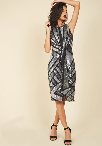 Marked With Sparkle Sheath Dress - Luxe Gifts, Sparkly2015, Silver, Black, Sequins, Special Occasion, Prom, Homecoming, Luxe, Statement, Sleeveless, Crew, Geometric, Cutout, Party, Cocktail, Girls Night Out, Holiday Party, Valentine's, Wedding Guest, Vintage Inspired, 60s, 70s, Sheath, Fall, Winter, Mid-length, Woven, Exceptional