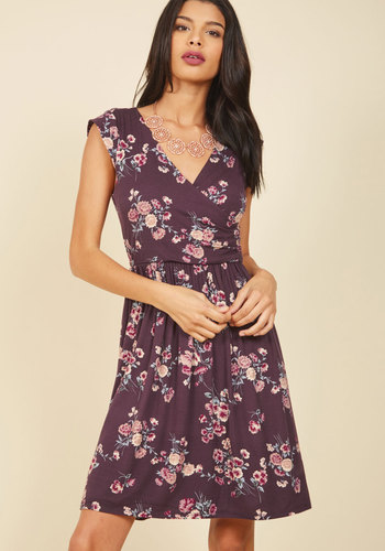 Breezier Said Than Done Floral Dress in Plum - Purple, Floral, Print, Work, Casual, Daytime Party, A-line, Cap Sleeves, Fall, Winter, Knit, Good, Exclusives, Mid-length