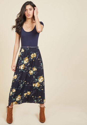 Savvy Storyteller Midi Dress - Blue, Yellow, Floral, Print, Casual, Daytime Party, A-line, Twofer, Short Sleeves, Fall, Knit, Better, Exclusives, Long